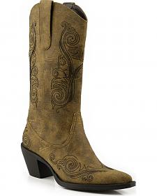 Roper Faux Leather Scroll Embroidered Cowgirl Boots - Pointed Toe