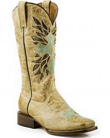Roper Cross Embroidered Cowgirl Boots - Wide Square Toe