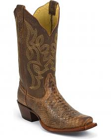 Nocona Snake Print Cowgirl Boots - Snip Toe