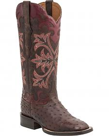 Lucchese Handcrafted 1883 Women's Rowena Full Quill Ostrich Boots - Square Toe
