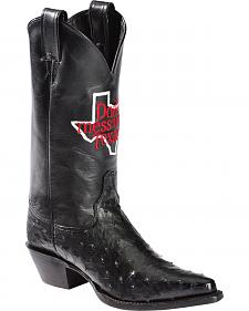 "Justin ""Don't Mess with Texas"" Full Quill Ostrich Cowgirl Boots - Pointed Toe"