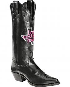 "Justin ""Don't Mess with Texas"" Calfskin Cowgirl Boots - Pointed Toe"