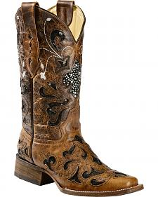 Corral Sequence Fleur De Lis Cowgirl Boots - Square Toe