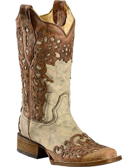 Corral Floral Laser Cutout Cowgirl Boots - Square Toe