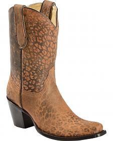 Corral Cheetah Print Short Top Cowgirl Boots - Snip Toe