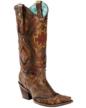 Corral Aztec Embroidered Whipstitched Cowgirl Boots - Snip Toe