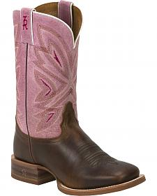 Tony Lama Tan Cuero 3R Stockman Cowgirl Boots - Square Toe
