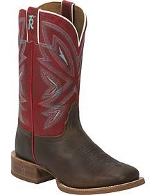Tony Lama Tobacco Faro 3R Stockman Cowgirl Boots - Square Toe