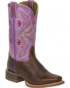 Tony Lama Cognac Crockett 3R Stockman Cowgirl Boots - Square Toe