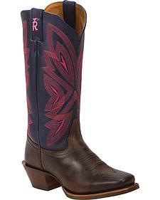 Tony Lama Tobacco Faro 3R Western Cowgirl Boots - Square Toe