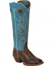 Tony Lama Tan Burnet 3R Buckaroo Cowgirl Boots- Square Toe