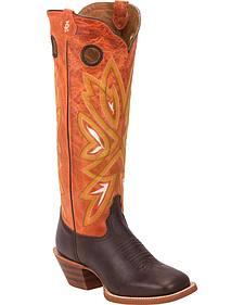 Tony Lama Chocolate Frio 3R Buckaroo Cowgirl Boots - Square Toe