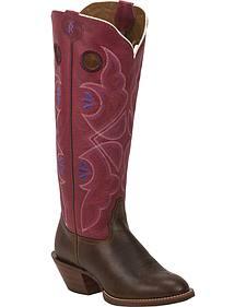 Tony Lama Tan Cuero 3R Buckaroo Cowgirl Boots - Round Toe