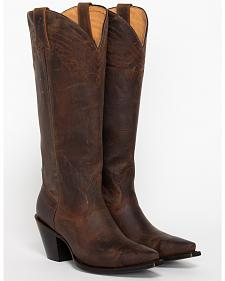 "Shyanne Women's 15"" Brown Cowgirl Boots - Snip Toe"