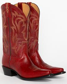 Shyanne Women's Red Leather Cowgirl Boots - Snip Toe