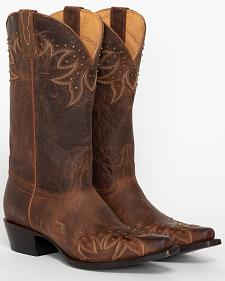 Shyanne Studded Wing Tip Cowgirl Boots - Snip Toe