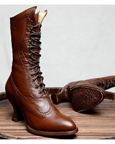 Oak Tree Farms Jasmine Cognac Boots - Medium Toe