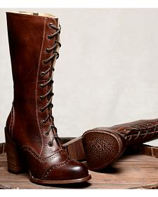 Oak Tree Farm Ariana Teak Brown Boots - Round Toe