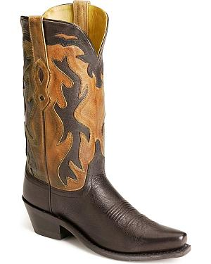Old West black inlay cowgirl boots