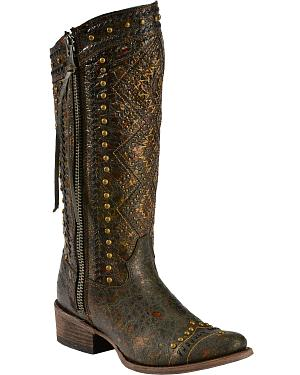 Corral Distressed Aztec Studded Cowgirl Boots - Round Toe