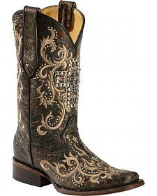 Corral Studded Cross Cowgirl Boots - Square Toe
