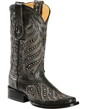 Corral Crystal Inlay Cowgirl Boots - Square Toe