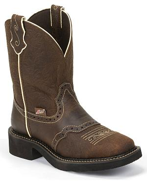 Justin Gypsy Embossed Floral Leather Cowgirl Boots - Square Toe