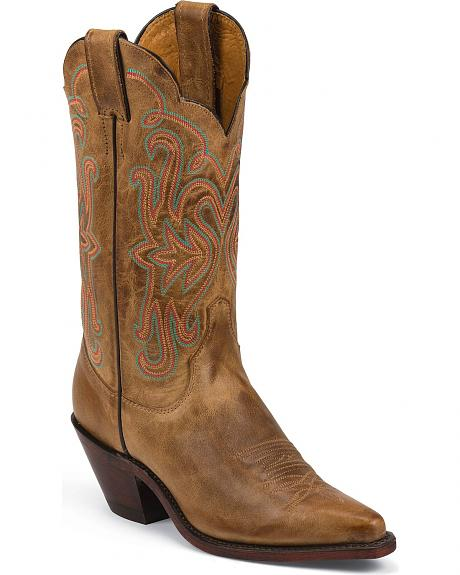 Justin Bent Rail Cognac Tan America Cowgirl Boots - Pointed Toe