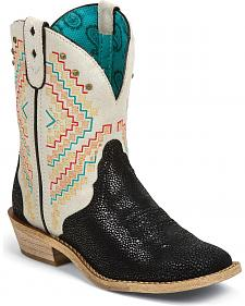 Justin Gypsy Jeweled Cowhide Cowgirl Boots - Square Toe