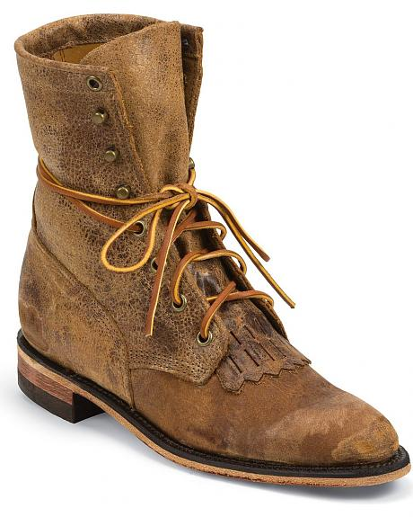 Justin Bent Rail Women's Tan Road Lacer Boots - Round Toe