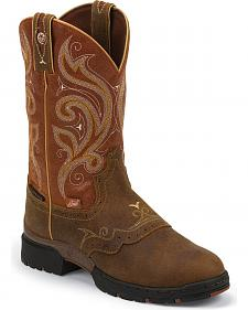 Justin George Strait Collection Orange Waterproof Cowgirl Boots - Round Toe