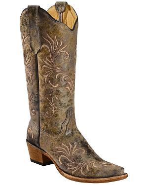 Circle G Womens Filigree Cowgirl Boots - Snip Toe