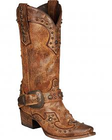 Lane Your Harness Studded Cowgirl Boots - Snip Toe