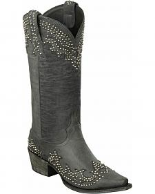 Lane Stephanie Black Studded Cowgirl Boots - Snip Toe