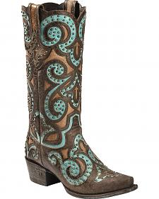 Lane Paulina Scroll Cowgirl Boots - Snip Toe