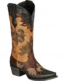 Lane Boots Women's Maggie Black & Tan Cowgirl Boots - Snip Toe