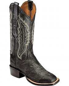 Lucchese Handcrafted 1883 Silverwash Black Pig Cowgirl Boots - Square Toe