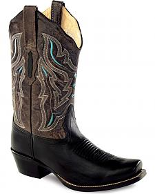 Old West Embroidered Cowgirl Boots - Square Toe