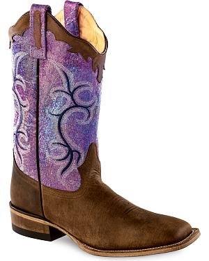 Old West Scalloped Colorful Cowgirl Boots - Square Toe