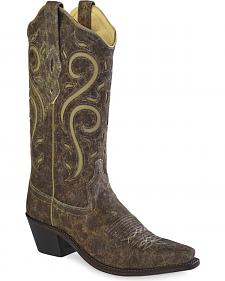 Old West Women's Distressed Scroll Western Cowgirl Boots - Snip Toe