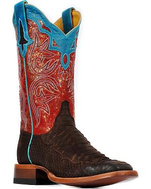 Cinch Womens Suede Python Cowgirl Boots - Square Toe