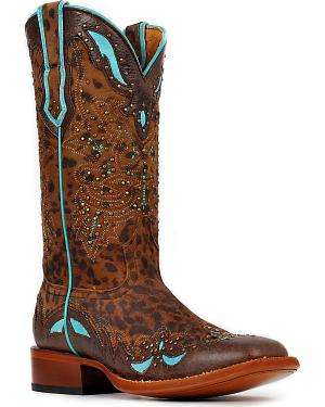 Cinch Womens Cheetah & Turquoise Leather Inlay Cowgirl Boots - Square Toe