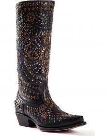 Johnny Ringo Embellished Black Cowgirl Boots - Snip Toe
