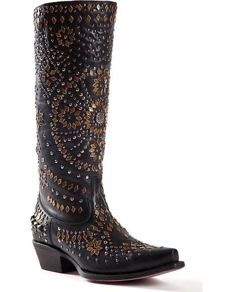 Johnny Ringo Embellished Black Cowgirl Boots - Snip Toe