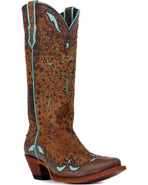 Johnny Ringo Cheetah Print Turquoise Inlay Cowgirl Boots - Snip Toe