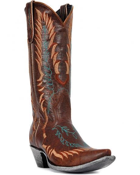 Johnny Ringo Embroidered Western Cowgirl Boots - Snip Toe