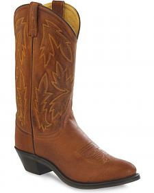 Old West Women's Tan Polanil Western Cowboy Boots - Round Toe