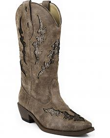Roper Bling Glitter Faux Leather Cowgirl Boots - Square Toe
