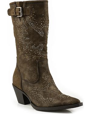 Roper Crystal Eagle Fashion Cowgirl Boots - Snip Toe