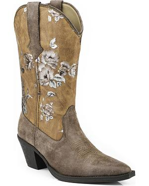 Roper Printed Vintage Floral Faux Leather Cowgirl Boots - Medium Toe